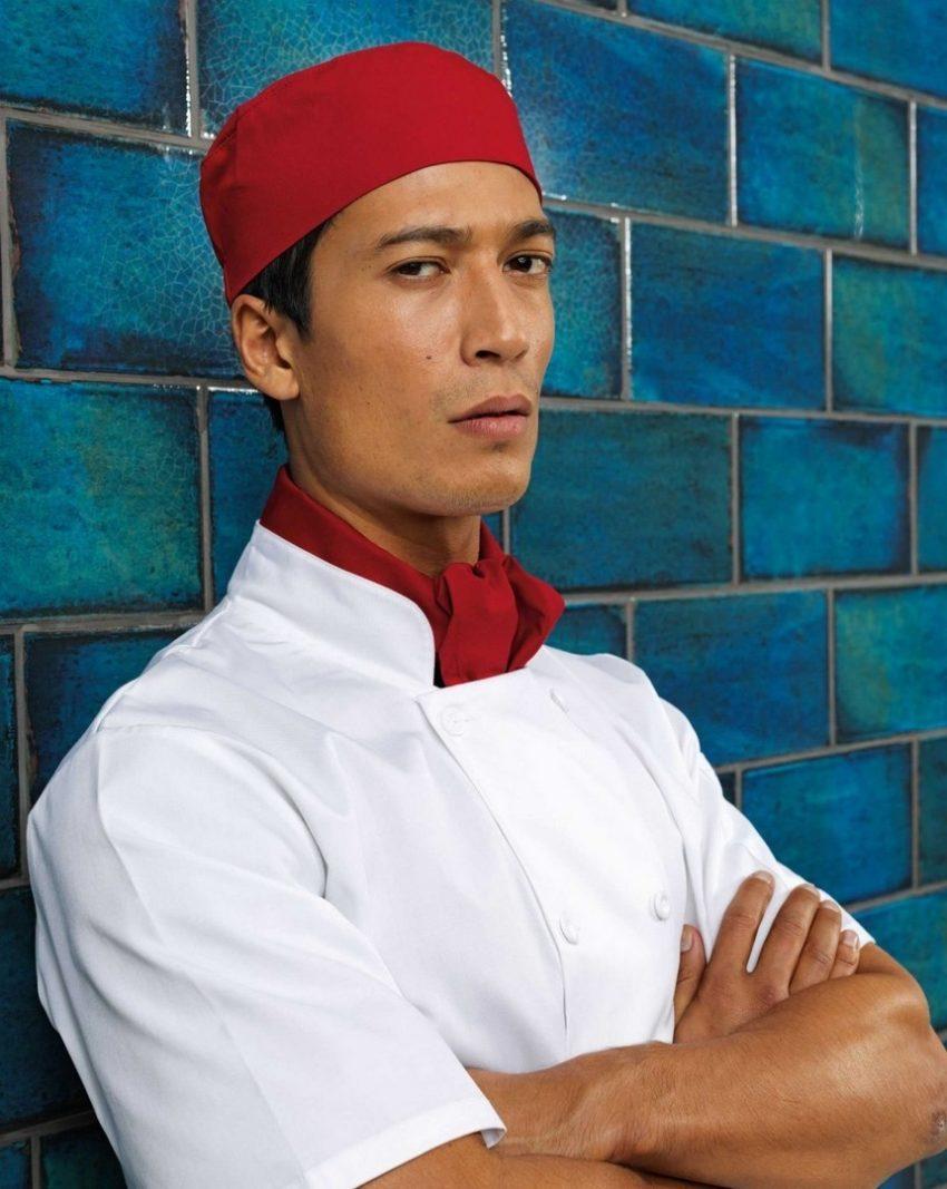 kuchařské rondony bílé, kuchařské čepice a šátky
