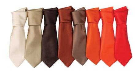 firemní kravaty červené, hnědé, oranžové