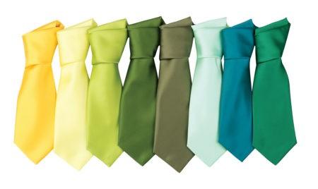 firemní kravaty žluté, zelené