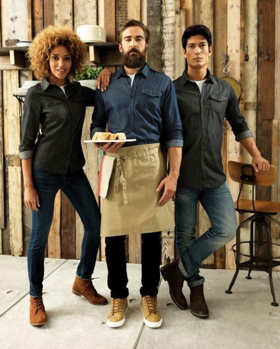 košile, zástěry džínové
