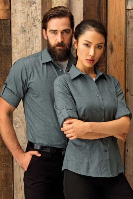 Pracovní košile pánské a dámské, šedý melír