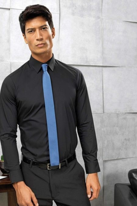 pánská košile černá, fialová kravata