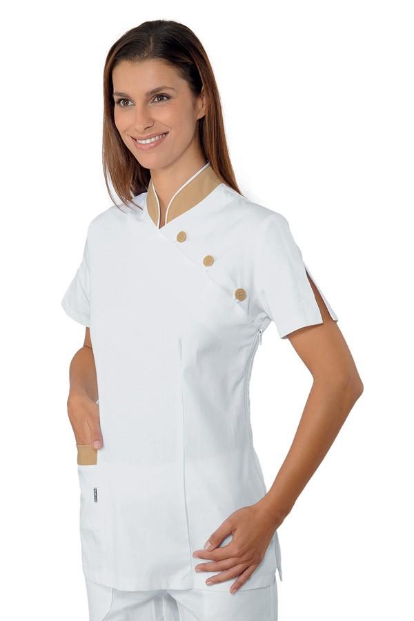 pracovní tunika se stojáčkem, bílá, zdravotnictví, salon, SPA