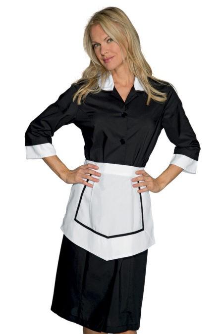 pracovní šaty černé, s bílou zástěrkou