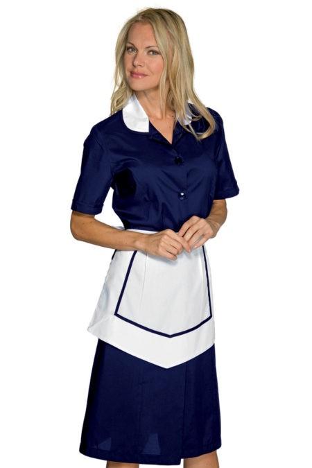 šaty pokojská, modré s bílou zástěrkou