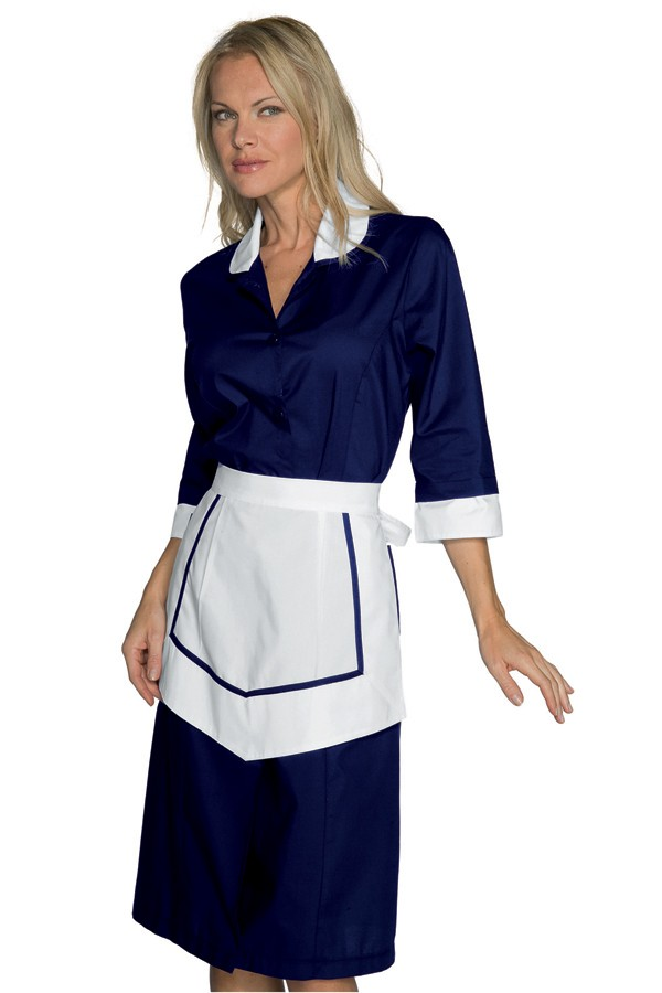 pracovní šaty modré, s bílou zástěrkou