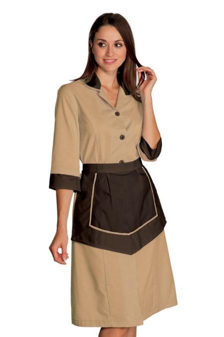 šaty pokojská, béžové, hnědé, se zástěrkou