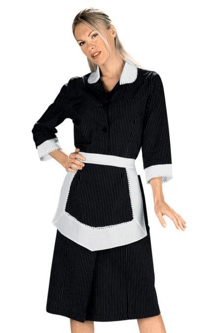 šaty pokojská, černé s proužkem, se zástěrkou