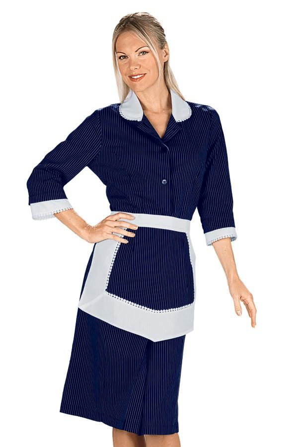 šaty pokojská, modré, se zástěrkou a krajkou
