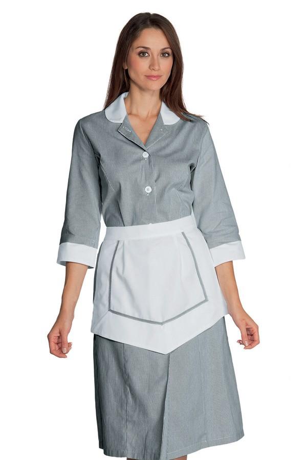šaty pokojská, šedé, se zástěrkou