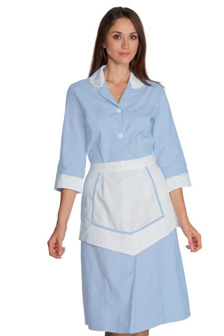 šaty pokojská, modré, se zástěrkou
