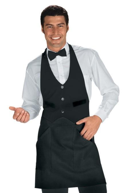 zástěry pro restaurace, černé, bílé