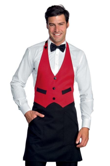 pracovní zástěra restaurace, černá, červená