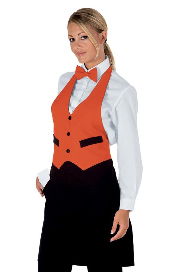 pracovní zástěra restaurace, černá, oranžová