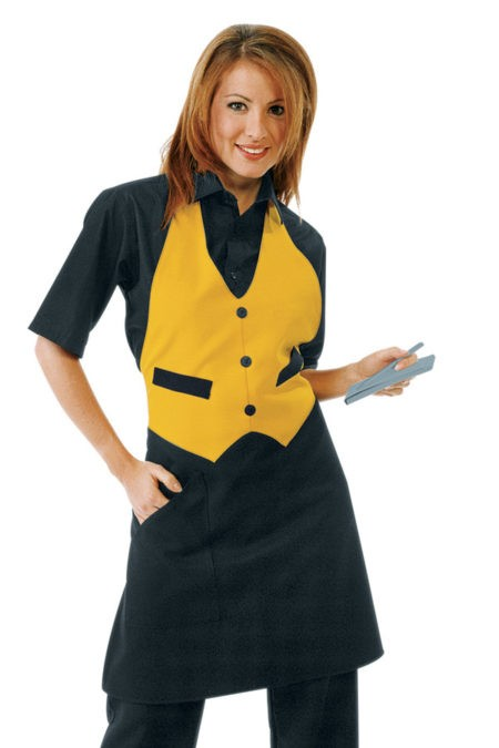 pracovní zástěra restaurace, černá, žlutá