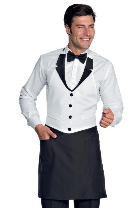 zástěra restaurace, černá, bílá