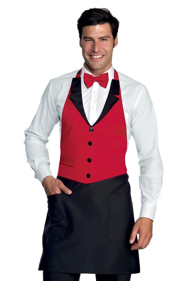 zástěra restaurace, černá, červená