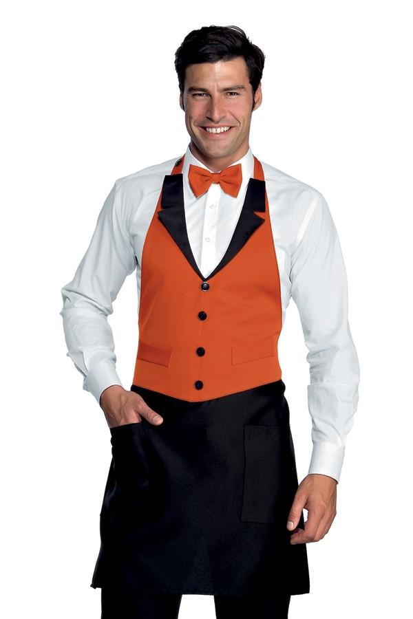zástěra restaurace, černá, oranžová