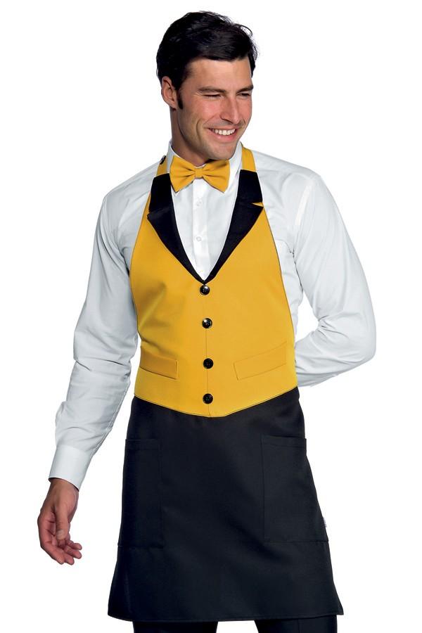 zástěra restaurace, černá, žlutá