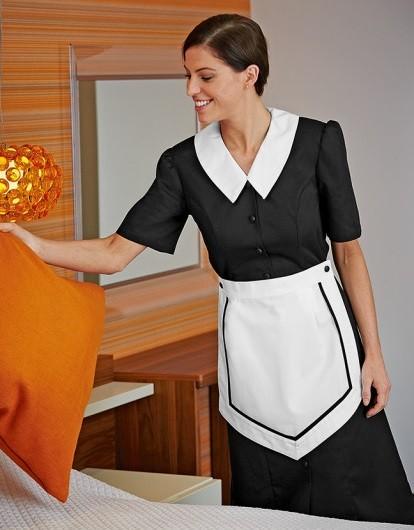šaty pokojské, černé s bílou zástěrkou
