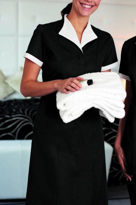 šaty pokojské, černá s bílou