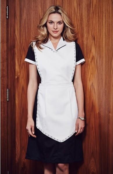 šaty pokojské, černá s bílou krajkou