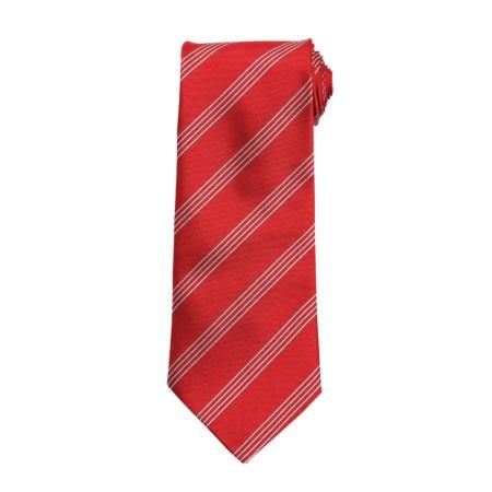 kravata červená s proužkem
