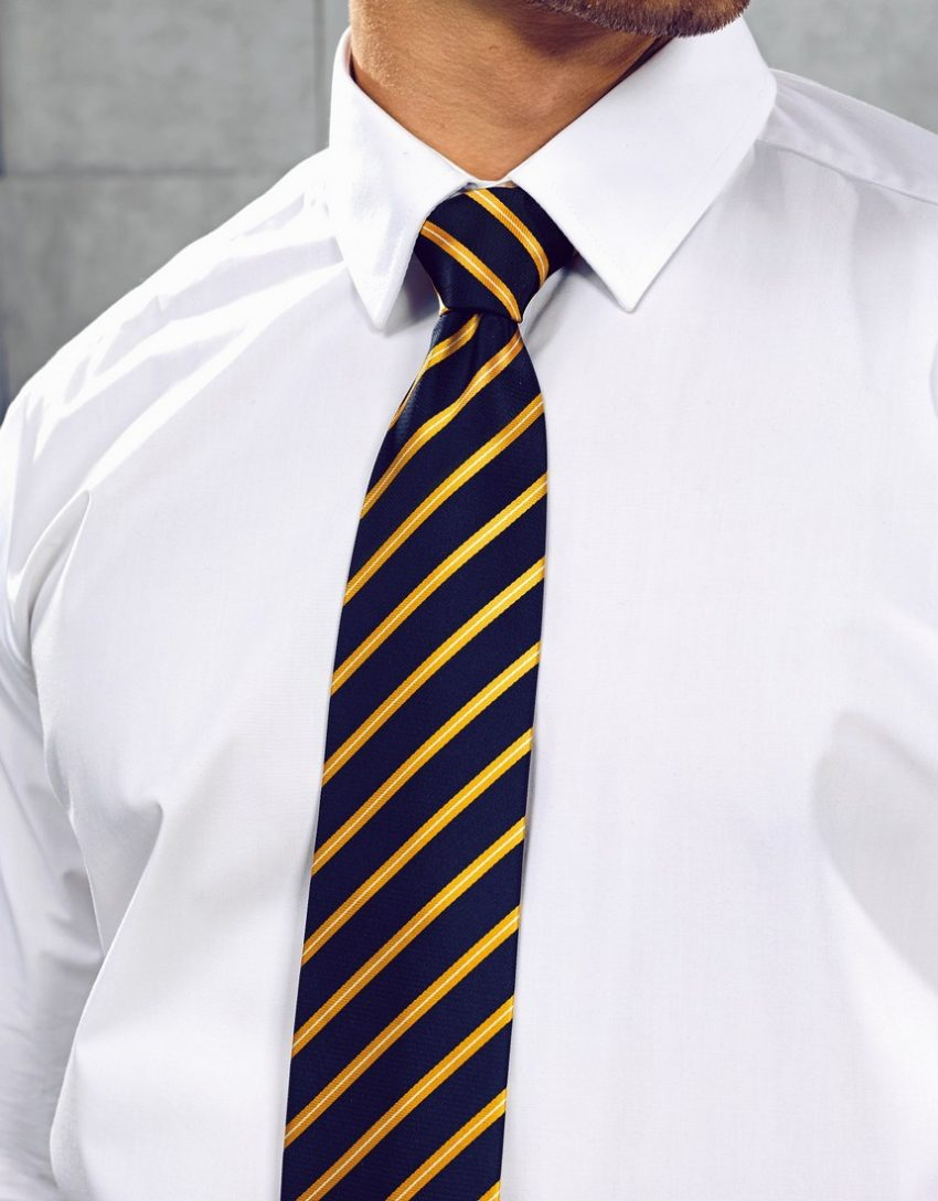 Kravata proužek, modrá, žlutá