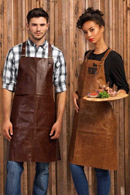 Zástěra s laclem kožená Vintage restaurace