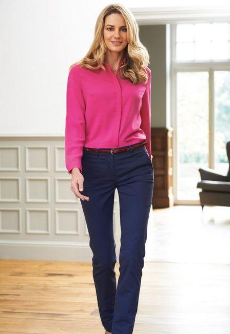 Pracovni kalhoty damske Chinos modre
