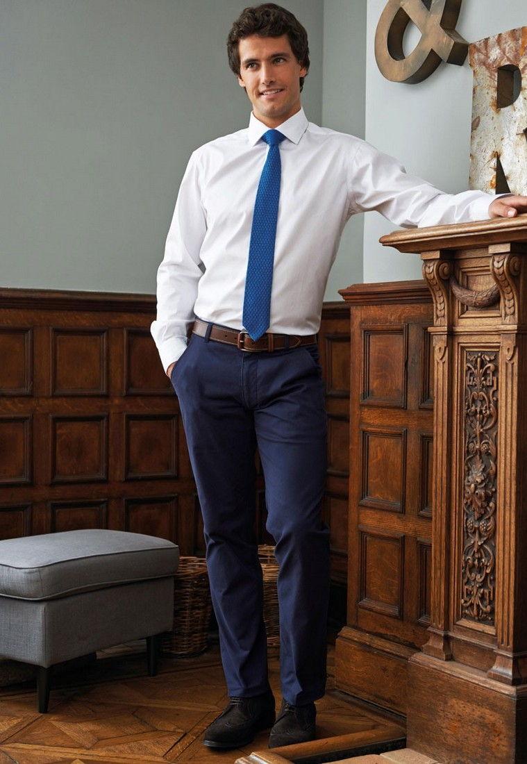 Pracovni kalhoty panske Chinos modre