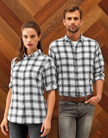 Pracovní košile pánské a dámské, kostkované