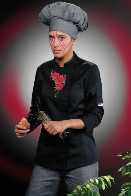 Pracovní oděvy, kuchařský rondon dámský, vyšívaný