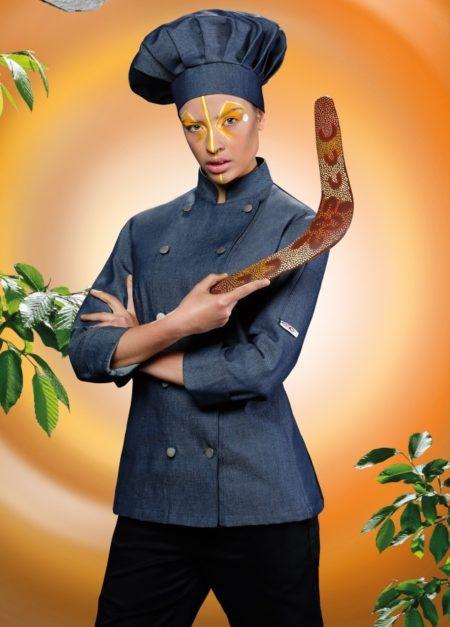 čepice kuchařská džínová