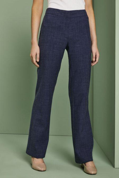 pracovní kalhoty dámské lněné modré