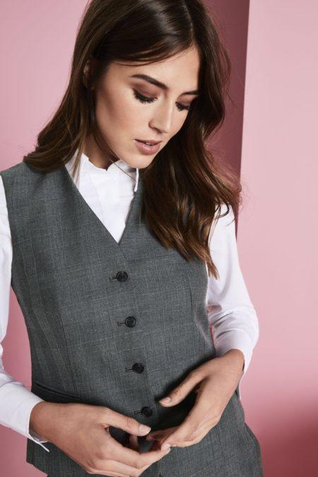 módní vesta dámská šedá kostka