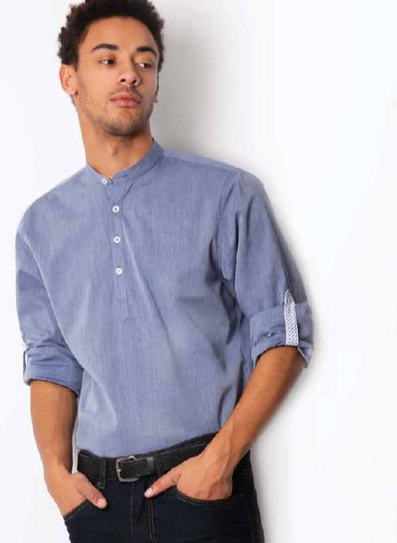 košile pánská se stojáčkem, džínová