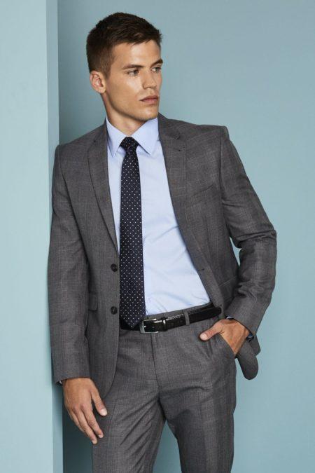 sako pánské, oblek pánský šedá kostka