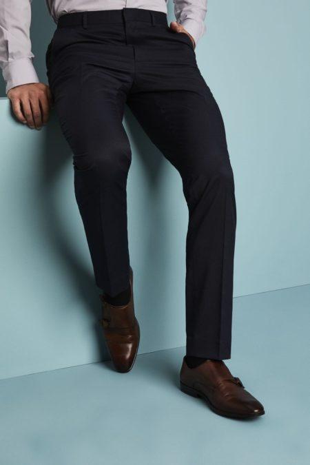 kalhoty pánské úzké tmavě modrý proužek