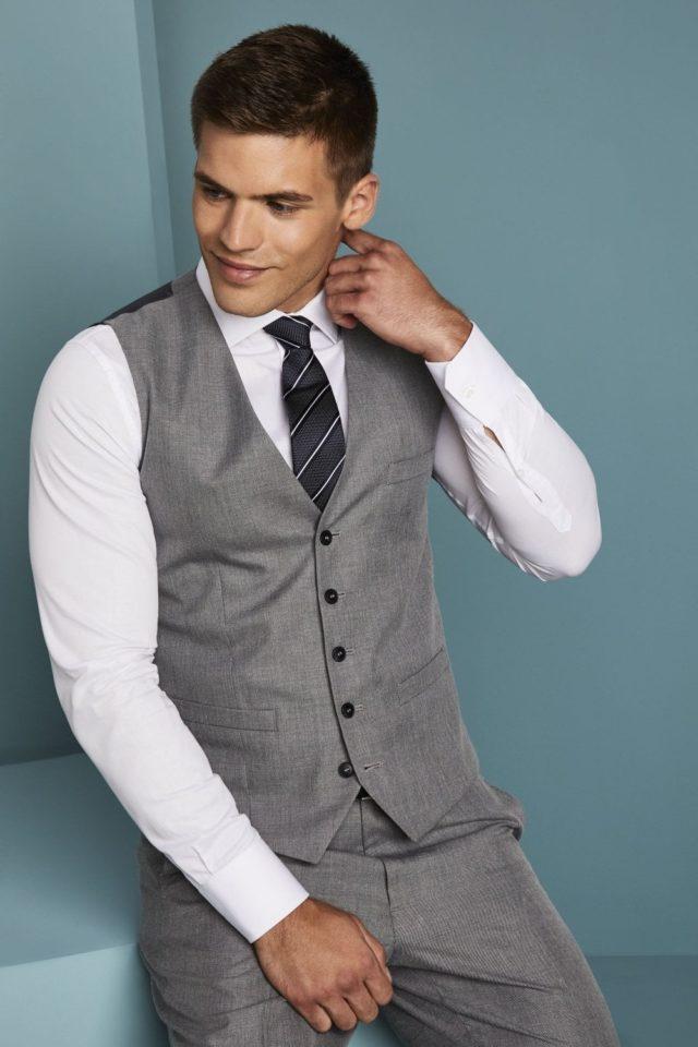 módní vesta pánská šedý melír