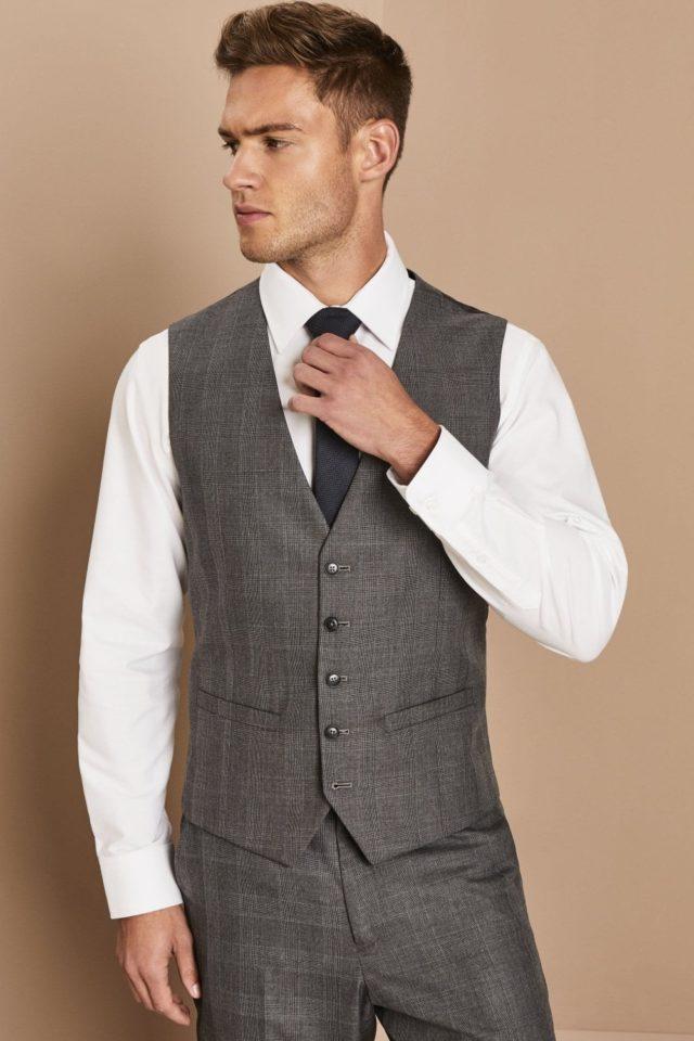 módní vesta pánská šedá kostka